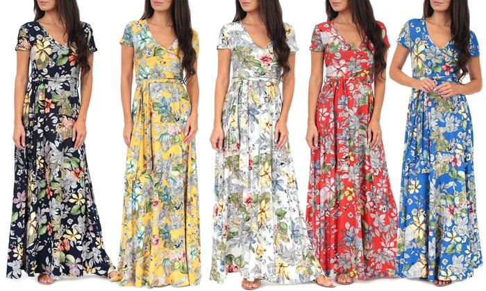 81a727a7e844d Up To 67% Off on Womens Wrap Maxi Dress w/ Belt | Groupon Goods