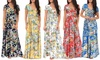 Womens Floral Faux Wrap Maxi Dress with Belt and Plus Size
