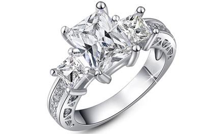 Bague Princesse en acier rhodié ornée de cristaux Swarovski®
