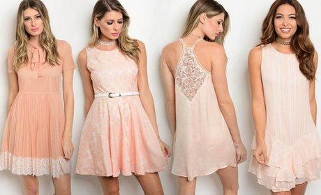 Women's Junior Blush Pink Dresses