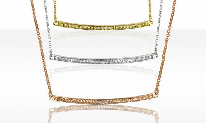 Diamond Accent Bar Necklace with Gold, Rhodium, or Rose Gold Finish: Diamond Accent Bar Necklace with Gold, Rhodium, or Rose Gold Finish. Free Returns.