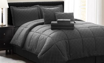 Hotel 5th Ave Plaid Bed-in-a-Bag Comforter Set With Sheets