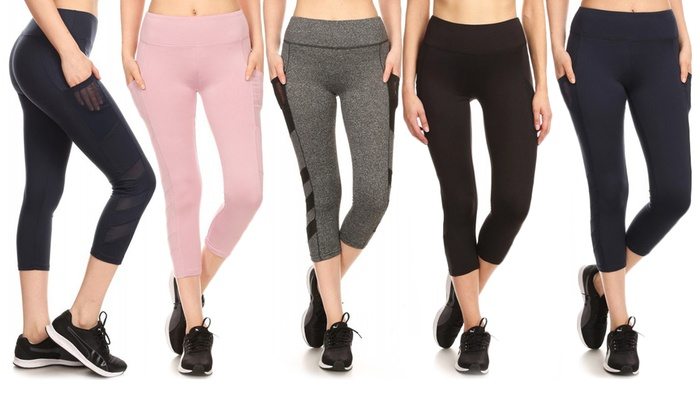 43f5a5a7b Pink Mint Women's Active Wear Capri Leggings with Side Pockets | Groupon
