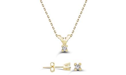 Elegantes Schmuck-Set mit Halskette und Ohrstecker mit Diamanten für Damen (Koln)