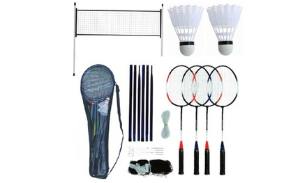 Rexco Outdoor FourPlayer Badminton Set with Net, Poles, Rackets and Shuttlecocks