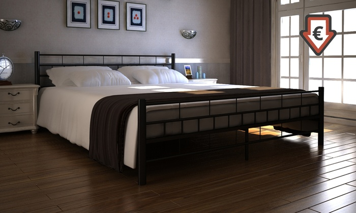 jusqu 39 9 cadre de lit double groupon. Black Bedroom Furniture Sets. Home Design Ideas