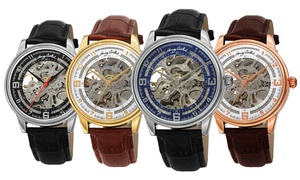 Henry Grethel Men's Skeleton Automatic Leather Strap Watch