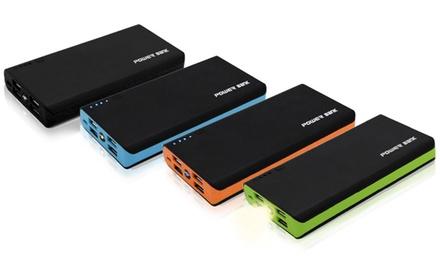 Powerbank in der Farbe nach Wahl mit 20.000 mAh, Taschenlampe und 4 USB Slots