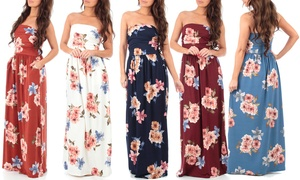 Women's Strapless Ruched Maxi Tube Dress with Pockets
