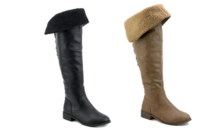 Women's Foldable Sherpa Cuff Over the Knee Boots