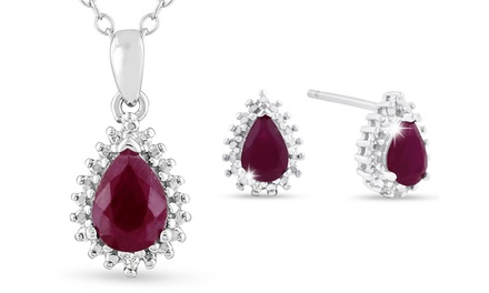 2 CTTW Pear-Cut Ruby and Diamond Halo Earrings and Necklace Set