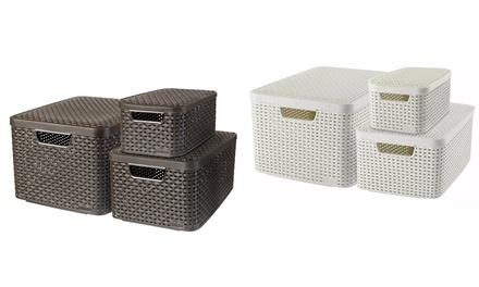 Set di 3 cestini Curver in stile rattan rettangolari disponibili in 3 dimensioni e 2 colori