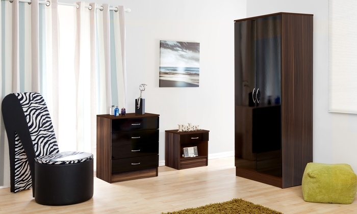 Alpha Black Gloss and Walnut Two-Door Wardrobe, Four-Drawer Chest and Bedside Cabinet Set from £129.98