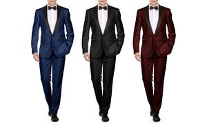 Braveman Men's Shawl-Lapel Runway Tuxedo with Bow Tie