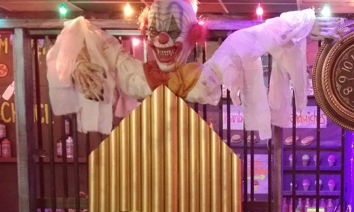 Entry for Four or Ten to Clownatoriom or Space Parody at Nightwalker Caverns Escape Room (Up to 52% Off)