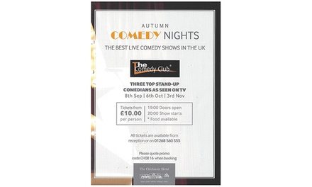 The Chichester Hotel Comedy Night on 8 September at 8 p.m., Wickford