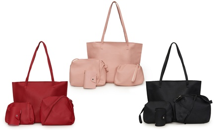 Faux Leather Four-Piece Bag Set
