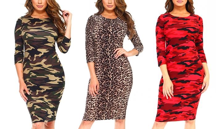 Style Clad Women\'s Printed Bodycon Midi Dress. Plus Sizes ...