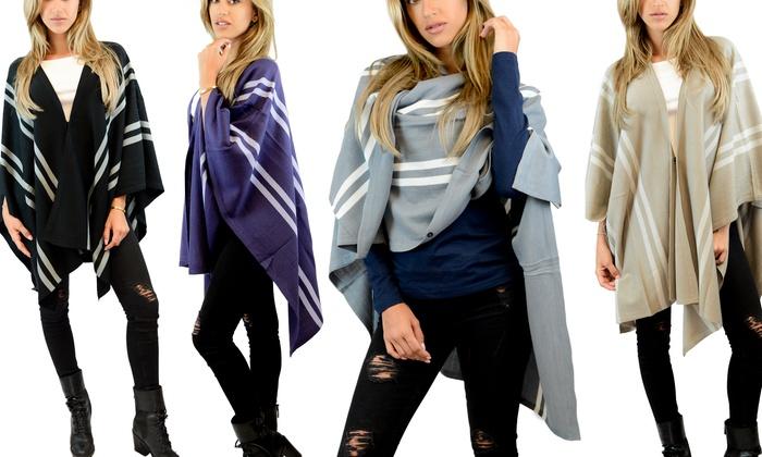 Women's Striped Oversized Poncho