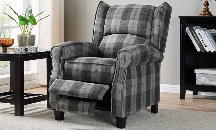 Nairn Tartan Fabric Recliner Arm Chair With Free Delivery