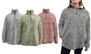 Women's Frosted Sherpa Wubby Pullover. Plus Sizes Available.