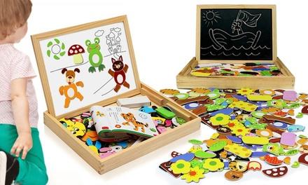 Tableau dessin magnétique double face en bois 3 en 1 avec puzzle en forme d'animaux