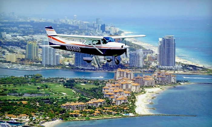 Miami Flight Seeing - ATA Flight School: Discovery Flight Seeing Air Tour for One or Romance Airplane Tour for Two from Miami Flight Seeing in Hollywood (Up to 51% Off)