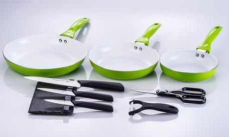3 padelle ceramicate e set di 3 coltelli ceramicati con accessori. Vari colori disponibili