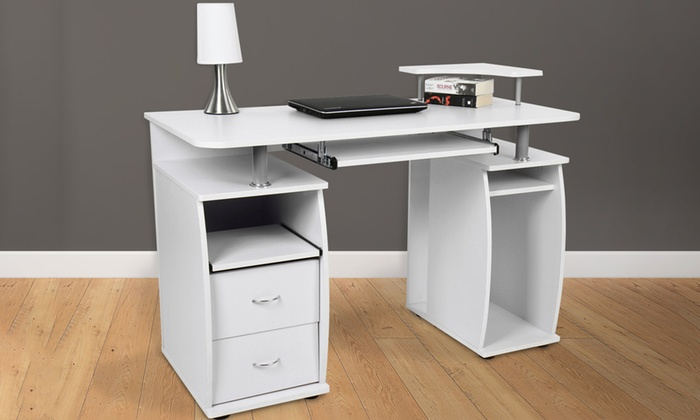 bureau avec tag re de clavier groupon. Black Bedroom Furniture Sets. Home Design Ideas