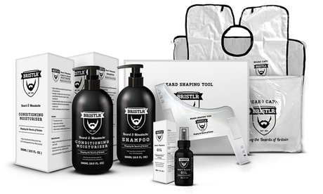 Kit completi Bristlr per la rasatura e cura della barba: pettini, mantelle, oli, balsami e shampoo