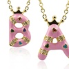 18K Gold- and Pink-Enamel-Plated Initial Pendant Necklaces