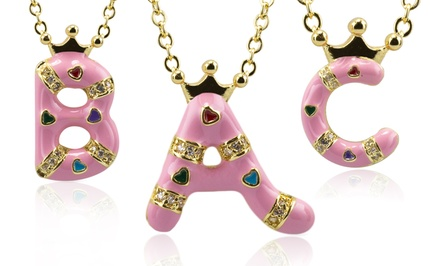 18K Gold- and Pink-Enamel-Plated Initial Pendant Necklace. Multiple Letters Available. Free Returns.