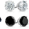 2-Pack Black and White Stud Earrings Set Made with Swarovski Elements