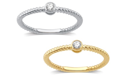 Diamond Accent Stackable Ring in Sterling Silver by DeCarat