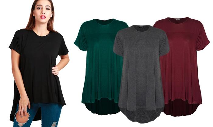 Womens Ladies Round Neck Short Sleeve High Low Dipped Hem Long Swing T-Shirt Top