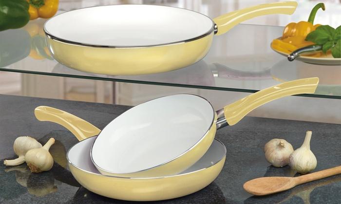 Three Piece Ceramic Pan Set Groupon Goods
