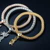 Cubic Zirconia Cat Charm Stretch Bracelet Sets by Barzel