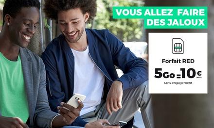 Forfait mobile RED by SFR SANS ENGAGEMENT : 5Go d'internet en 4G + Appels, SMS et MMS illimités à 10€/mois