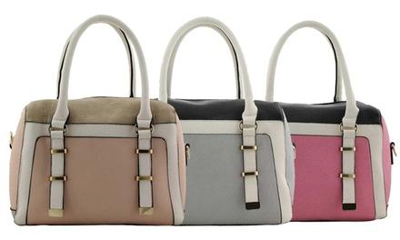 Color-Block Tasche in Beige, Pink oder Grau