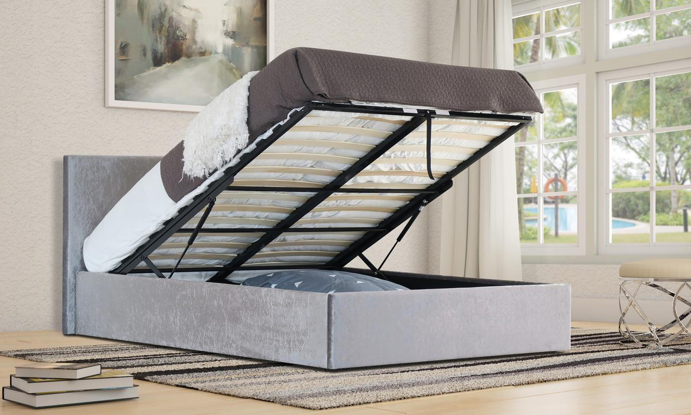 Brooklyn Shimmer Ottoman Bedframe with Optional Mattress