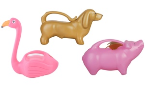 Watering Cans: Dachshund, Flying Pig, and Flamingo