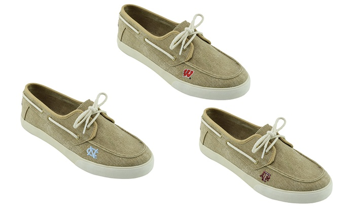 Men's NCAA Boat Shoes. Teams Texas—West Virginia Available.