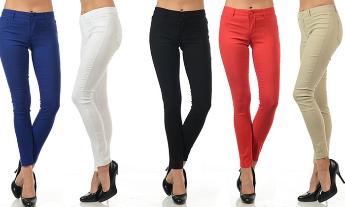 Juniors' Super-Stretch Twill Pants (3-Pack) | Groupon