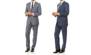 Men's Slim-Fit Windowpane Plaid Suit (2-Piece)