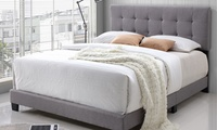 Brookfield Fabric Upholstered Bed, King (Beige / Charcoal)