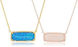 2.67 CTTW Genuine Opal and Cubic Zirconia Bar Necklace