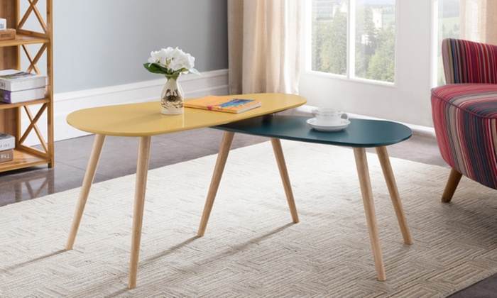 Table gigogne jaune/bleu canard | Groupon Shopping