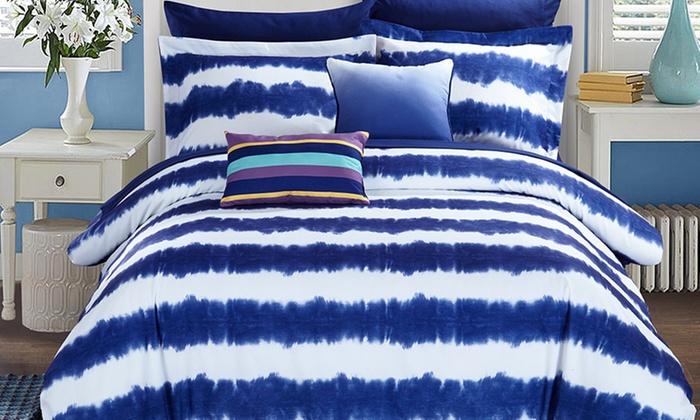 Logan Striped Shibori Tie Dye Bed In a Bag Set 7 or 9 Piece