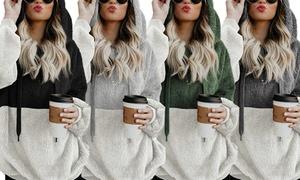 (Mode)  Sweat polaire à capuche bicolore -61% réduction