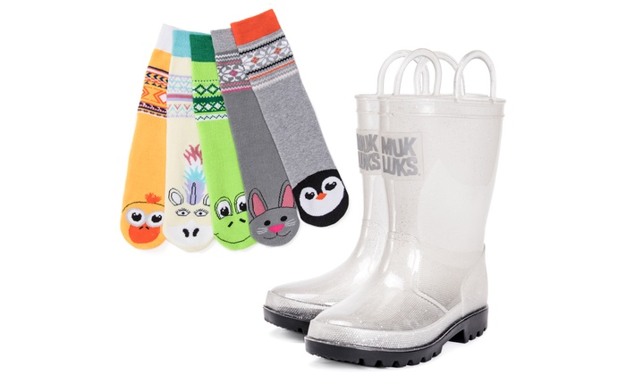 Muk Luks Girls Clear Sparkly Rain Boots With 5 Pack Critter Socks XL